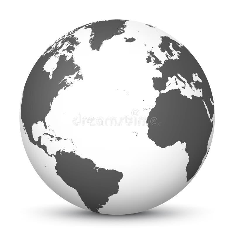 Icona bianca del globo 3D con Gray Continents e l'Oceano Atlantico nel centro - pianeta Terra - simbolo del mondo illustrazione di stock