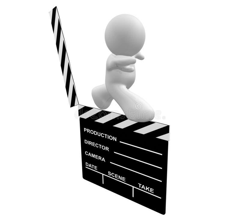 Icona bianca del tirante che cammina su una scheda di applauso di scena della pellicola illustrazione di stock