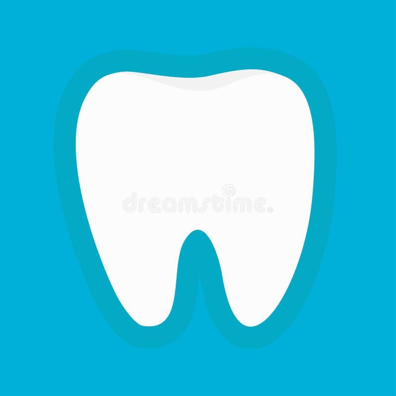 Icona bianca sana della siluetta del dente Igiene dentale orale Imbiancatura del concetto Cura dei denti dei bambini Fondo blu co illustrazione vettoriale