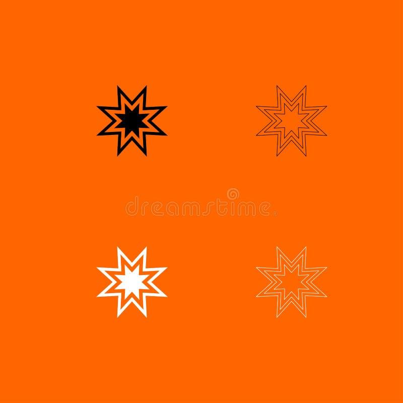 Icona in bianco e nero dell'insieme della retro stella d'avanguardia illustrazione di stock