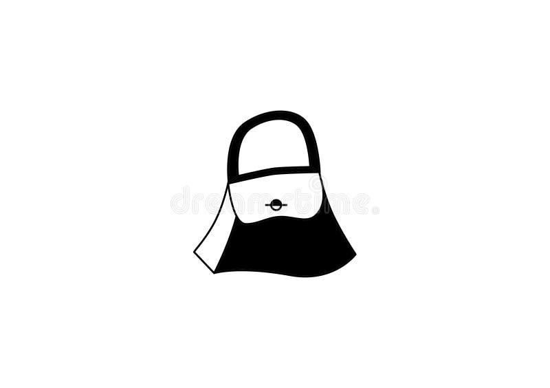 Icona in bianco e nero della borsa di vettore illustrazione di stock
