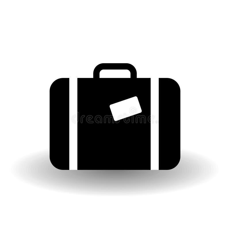 Icona in bianco e nero della valigia, illustrazione per i grafici, web del segno di vettore di viaggio, di simbolo del bagaglio,  illustrazione vettoriale