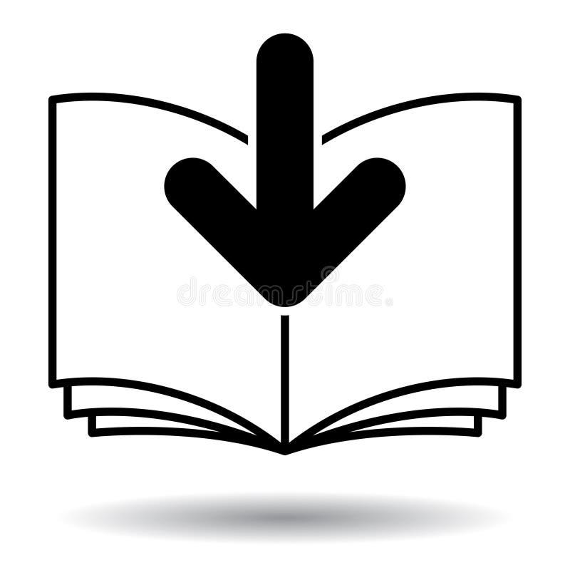 Icona in bianco e nero di download del libro elettronico illustrazione di stock