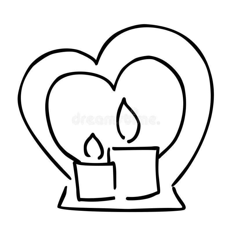 Icona in bianco e nero di vettore di giorno di biglietti di S. Valentino del fumetto della candela illustrazione di stock