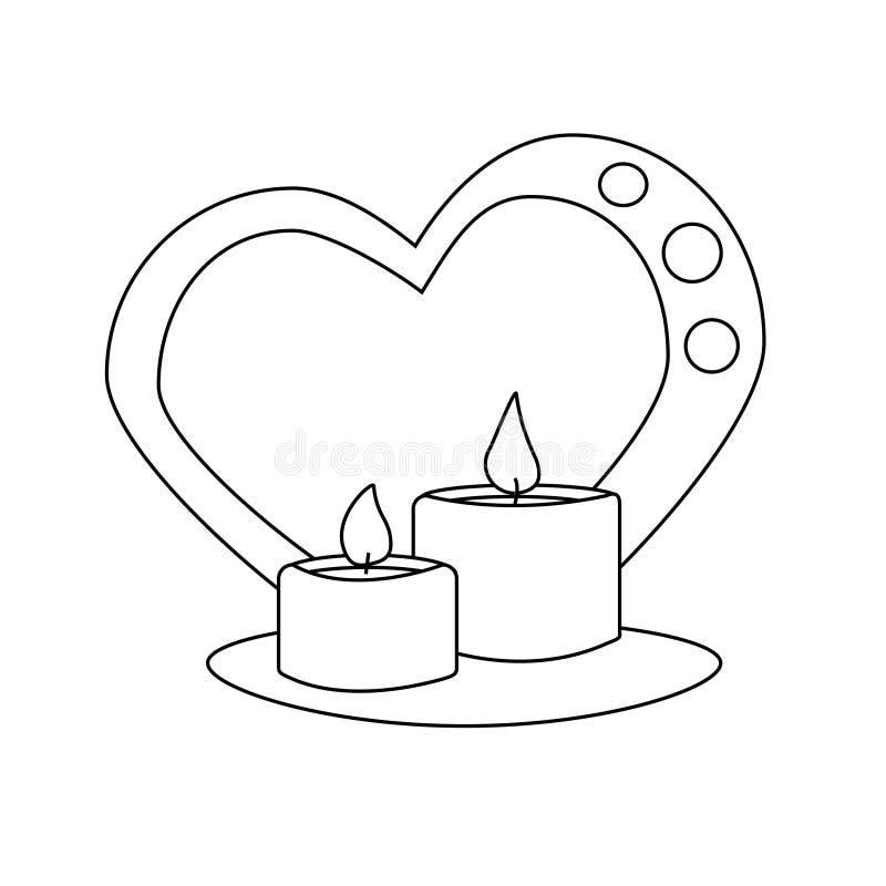 Icona in bianco e nero di vettore di giorno di biglietti di S. Valentino della candela illustrazione vettoriale