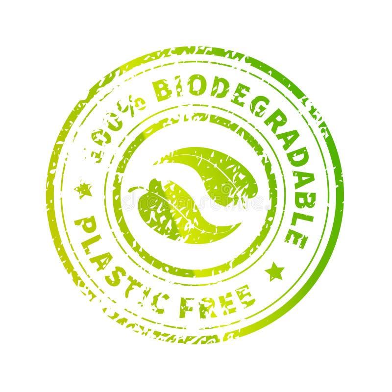 Icona biodegradabile, simbolo rotondo verde brillante, libero da plastica con foglie e trama grunge isolate su bianco illustrazione vettoriale