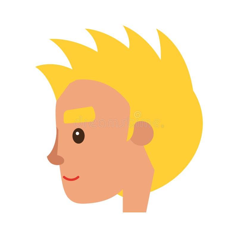 Icona bionda sorridente di vettore del fronte del carattere dell'uomo illustrazione di stock