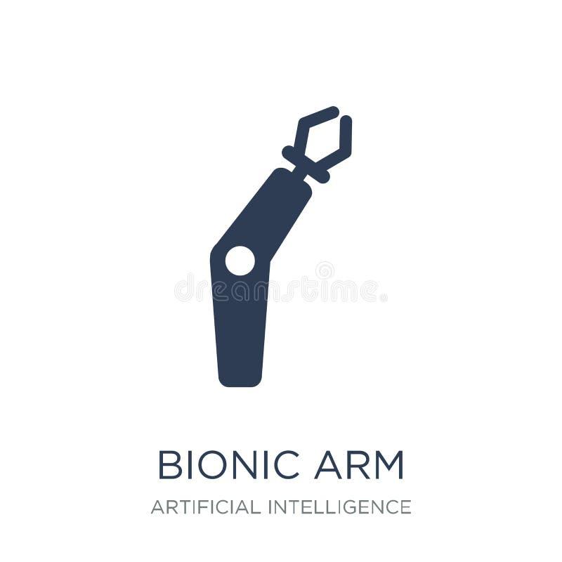 Icona bionica del braccio Icona bionica del braccio di vettore piano d'avanguardia sul BAC bianco illustrazione di stock
