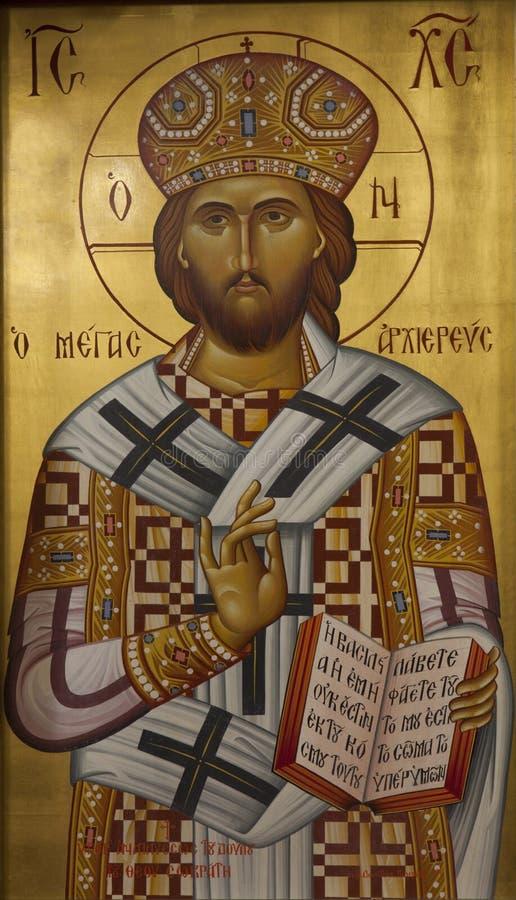Icona bizantino greca del Gesù Cristo immagini stock libere da diritti