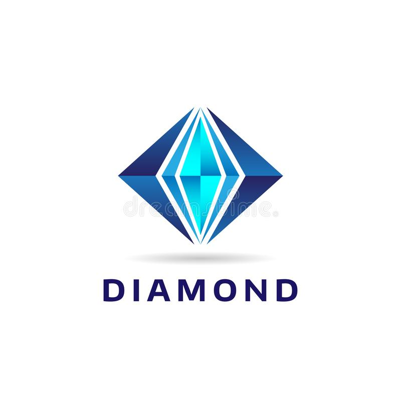 Icona blu astratta di Diamond Shape Logo Sign Symbol illustrazione di stock