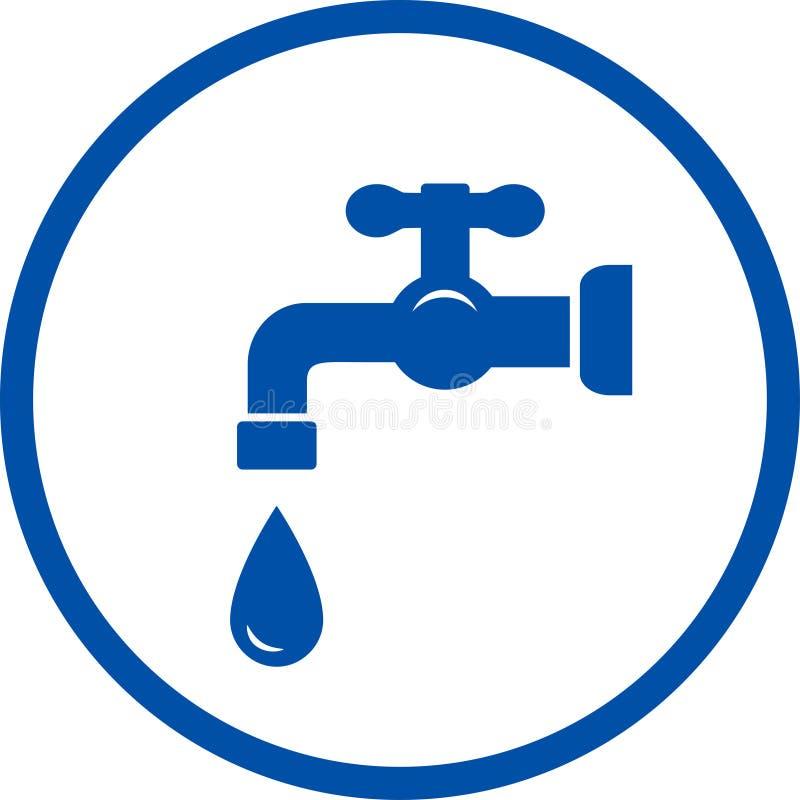 Icona blu con il rubinetto e la goccia illustrazione vettoriale