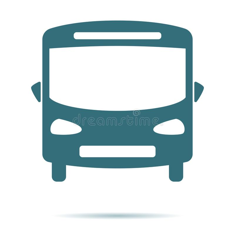 Icona blu del bus isolata su fondo Pittogramma piano moderno, affare, vendita, concetto di Internet illustrazione vettoriale
