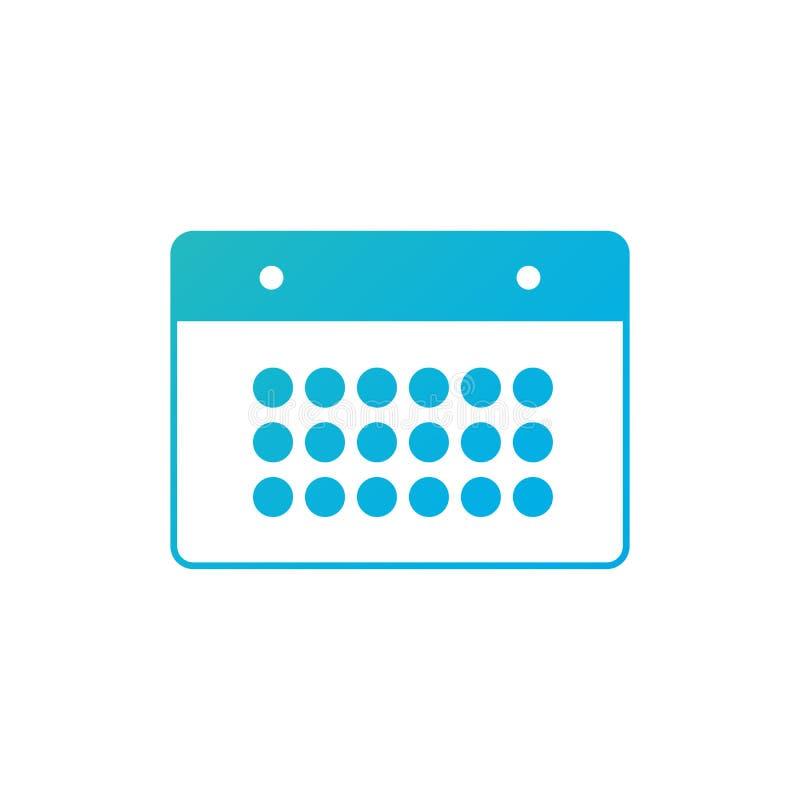 Icona blu del calendario di pendenza isolata su fondo bianco Illustrazione di vettore illustrazione vettoriale