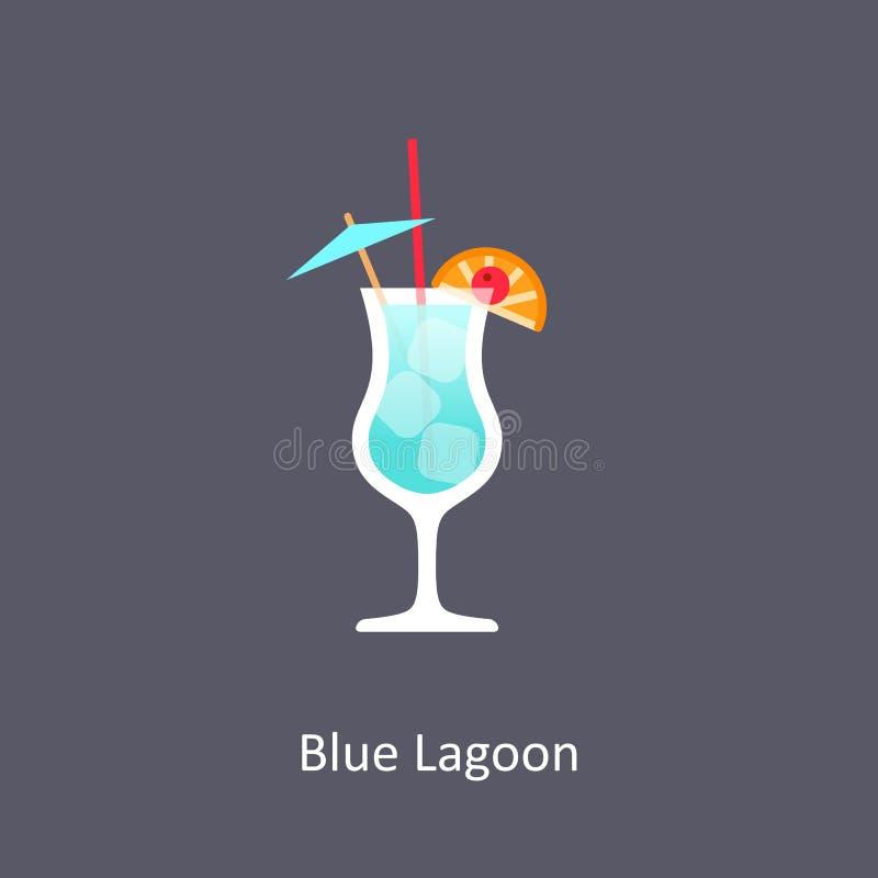 Icona blu del cocktail della laguna su fondo scuro royalty illustrazione gratis