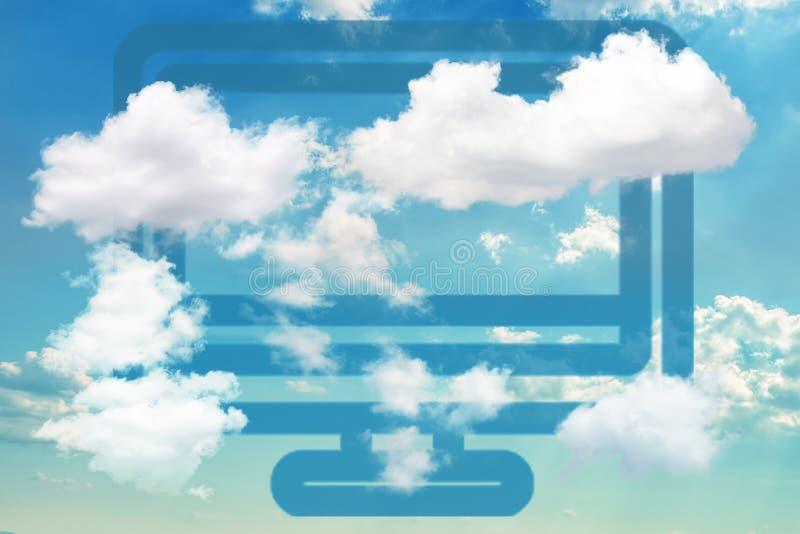 Icona blu del computer su cielo blu drammatico illustrazione vettoriale