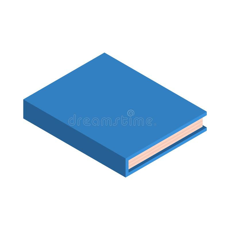 Icona blu del nuovo libro della scuola, stile isometrico illustrazione di stock