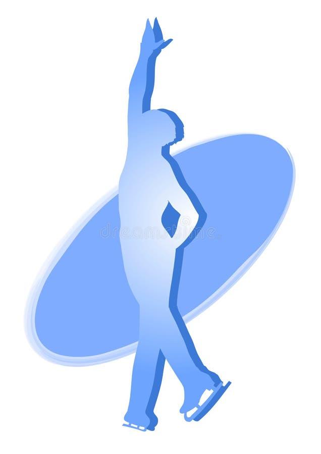 Icona blu del pattinatore di ghiaccio - uomo royalty illustrazione gratis