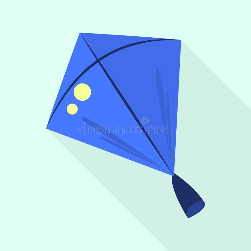 Icona blu dell'aquilone, stile piano illustrazione di stock