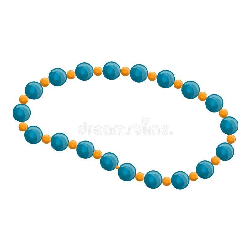 Icona blu della collana della perla, stile del fumetto illustrazione vettoriale