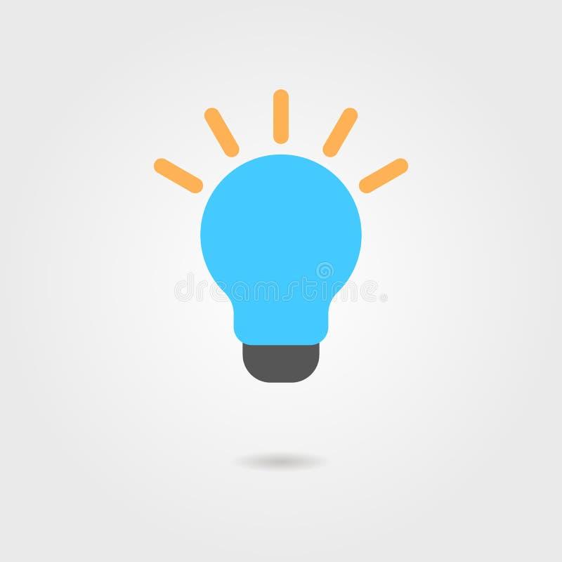 Icona blu della lampadina con ombra illustrazione vettoriale