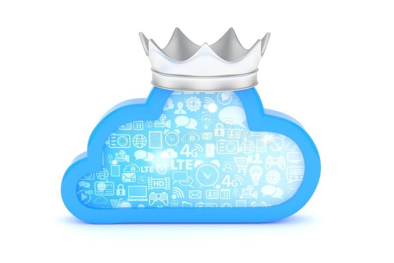Icona blu della nube rappresentazione 3d royalty illustrazione gratis