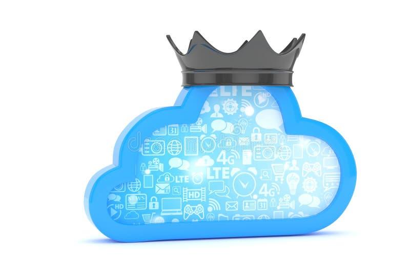 Icona blu della nube rappresentazione 3d illustrazione vettoriale