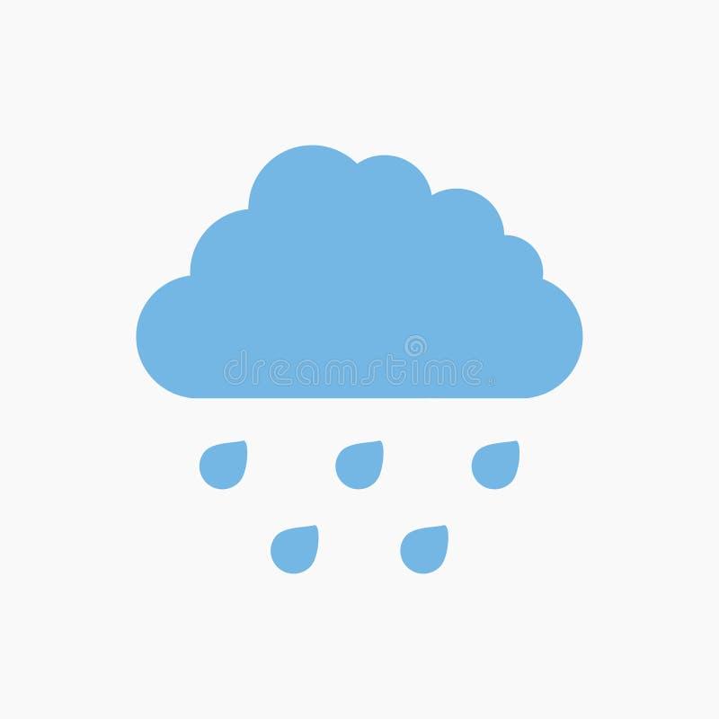 Icona blu della nuvola di pioggia illustrazione vettoriale
