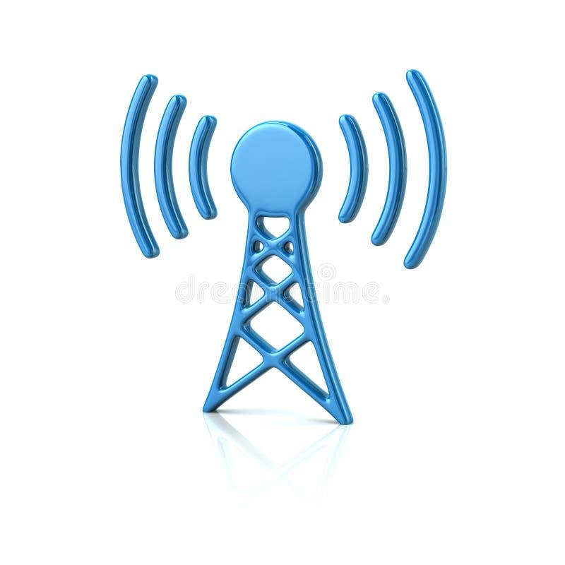 Icona blu della torre del trasmettitore illustrazione vettoriale