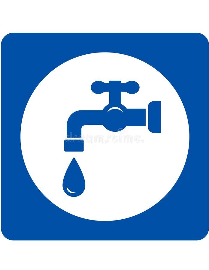 Icona blu di goccia e del rubinetto illustrazione vettoriale