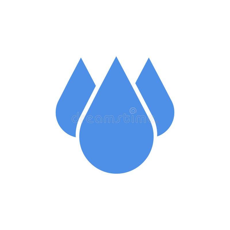 Icona blu di goccia nella progettazione piana Illustrazione di vettore Icona di goccia isolata su fondo bianco royalty illustrazione gratis