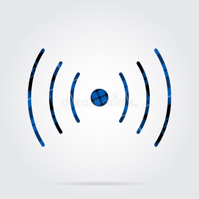Icona blu e nera del tartan - suoni, simbolo di vibrazione royalty illustrazione gratis
