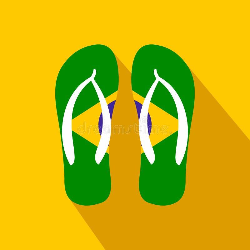 Icona brasiliana di Flip-flop, stile piano royalty illustrazione gratis