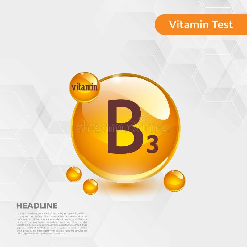 Icona brillante del capcule della pillola dell'oro della vitamina B3, colecalciferolo complesso dorato della vitamina con goccia  illustrazione di stock