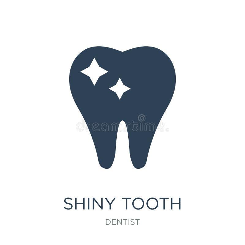 icona brillante del dente nello stile d'avanguardia di progettazione icona brillante del dente isolata su fondo bianco icona bril illustrazione vettoriale