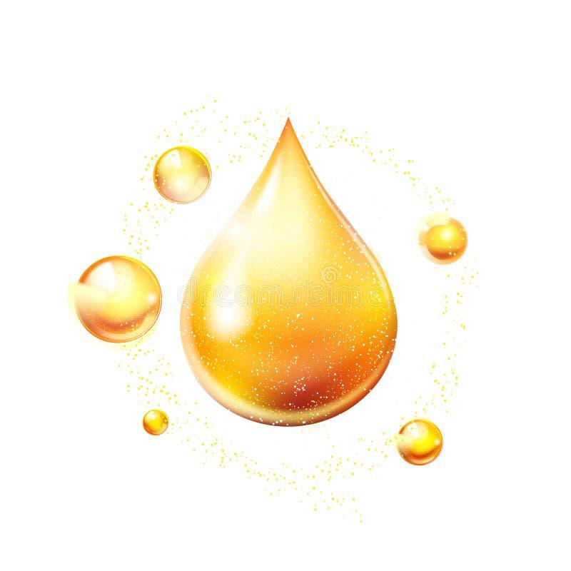 Icona brillante dell'oro di goccia dell'olio vitamina Goccia dorata brillante della sostanza Vettore royalty illustrazione gratis