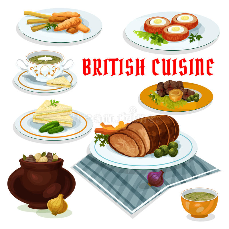 Icona britannica del fumetto del menu della cena di cucina illustrazione di stock