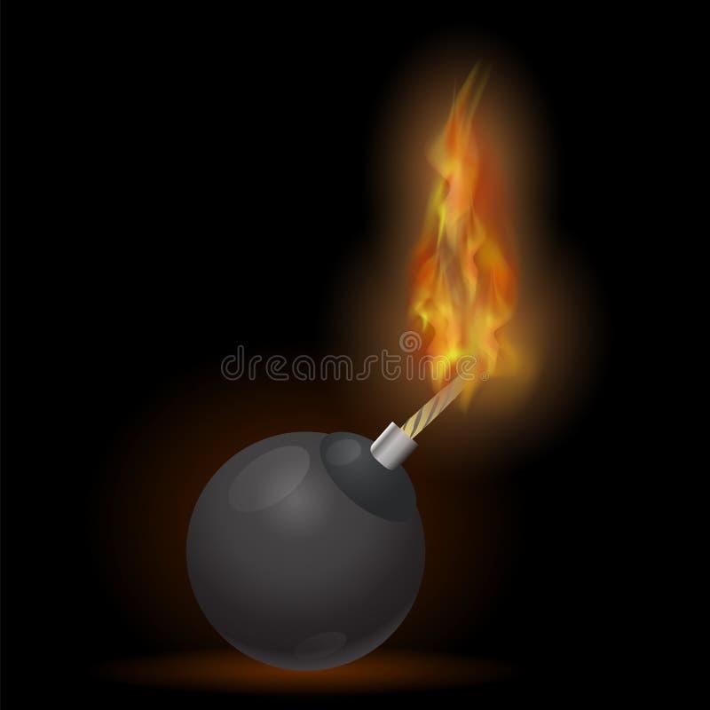 Icona bruciante della bomba illustrazione di stock