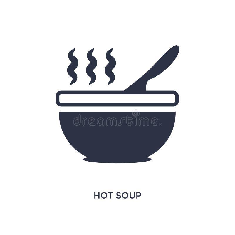 icona calda della minestra su fondo bianco Illustrazione semplice dell'elemento dal concetto del ristorante e dei bistrot illustrazione di stock