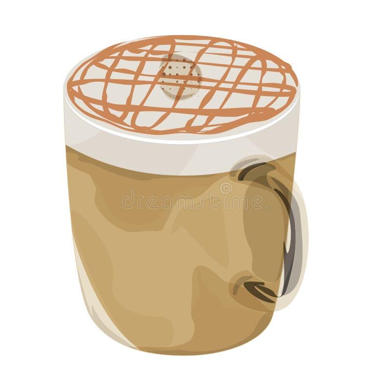 Icona calda di vettore del caffè di macchiato del caramello fotografia stock libera da diritti