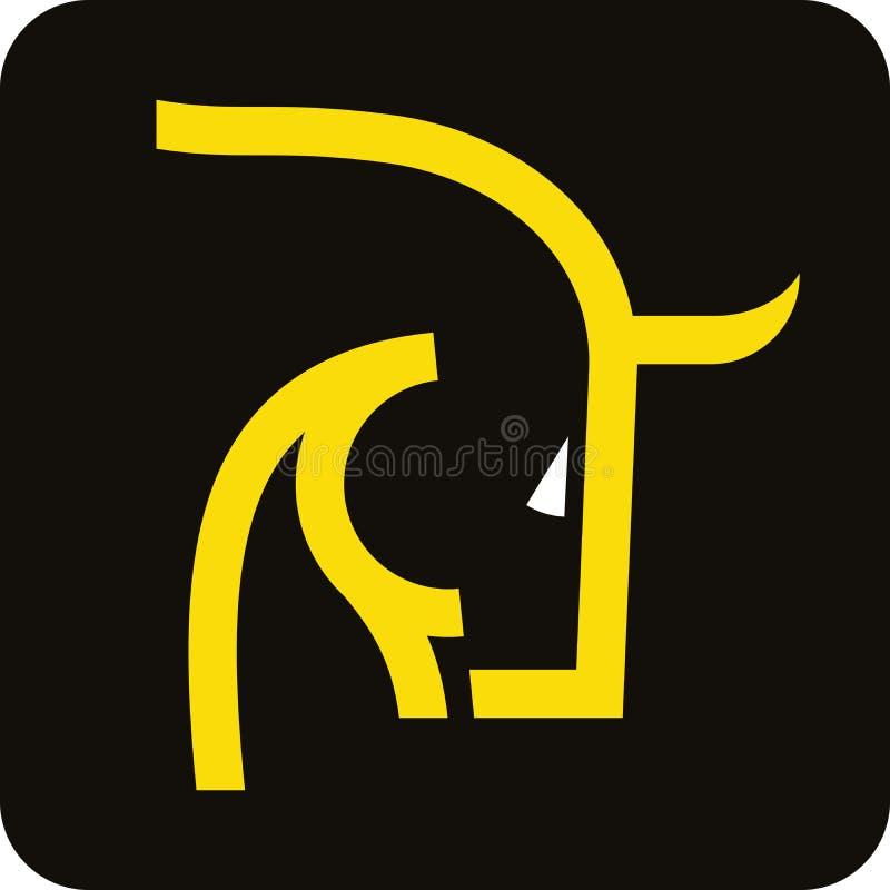 Icona capa del toro coraggioso in giallo ed in nero nello stile geometrico lineare royalty illustrazione gratis