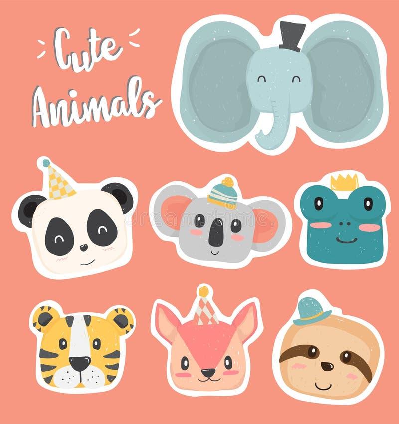 Icona capa di clipart della mano dell'animale selvatico sveglio del disegno nel vettore piano della raccolta di colore pastello illustrazione vettoriale