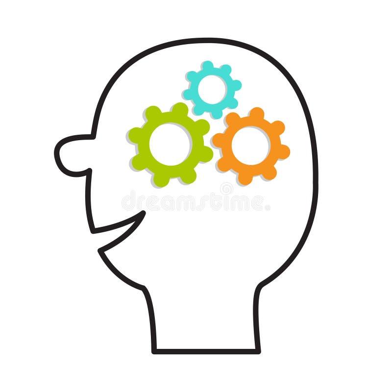 Icona capa umana del fronte Linea siluetta Ruote di ingranaggi dentro il cervello Concetto di affari del lavoro di gruppo Process illustrazione vettoriale