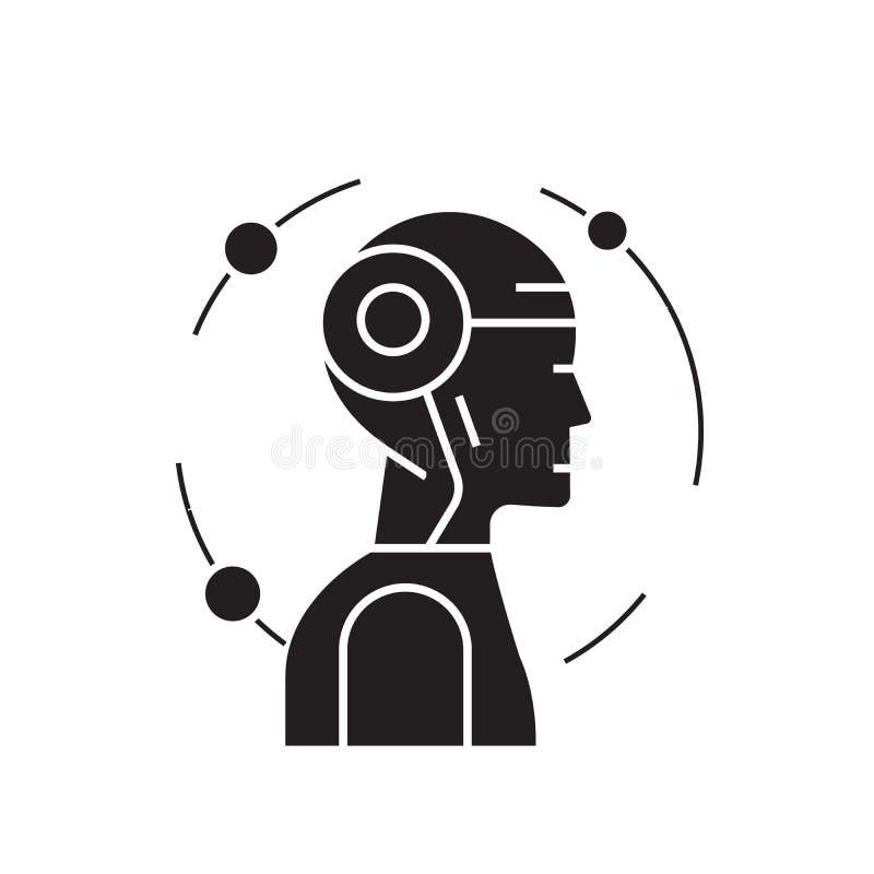 Icona in carico di concetto di vettore del nero di mente Illustrazione piana in carico di mente, segno royalty illustrazione gratis