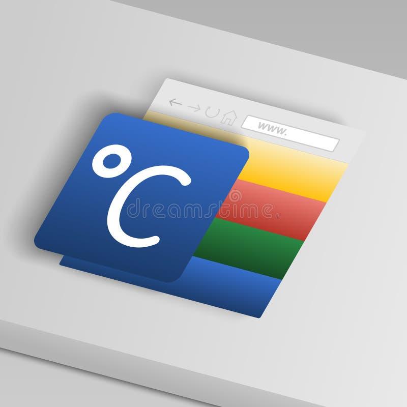 icona centigrado Dalle icone del bottone della raccolta illustrazione di stock