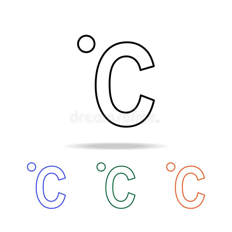 icona centigrado Elementi dell'icona semplice di web nel multi colore Icona premio di progettazione grafica di qualità Icona semp royalty illustrazione gratis