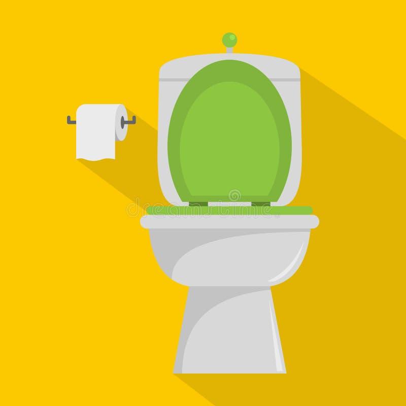 Icona ceramica della toilette, stile piano royalty illustrazione gratis