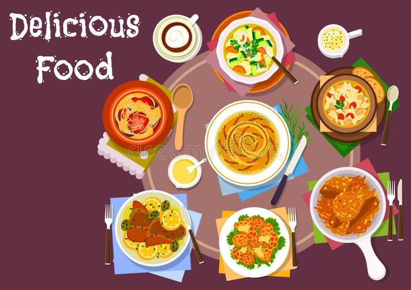 Icona ceramica sana dei piatti del vaso per progettazione del menu illustrazione vettoriale