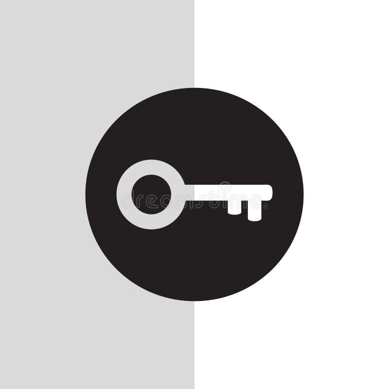 Icona chiave bianca di vettore nel fondo nero ENV 10 royalty illustrazione gratis