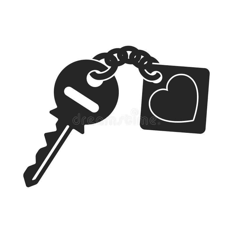 Icona chiave nello stile nero su fondo bianco Illustrazione romantica di vettore delle azione di simbolo royalty illustrazione gratis