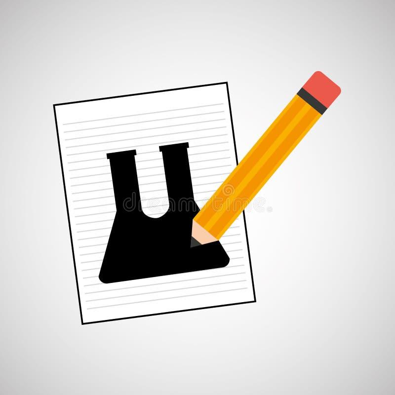 Icona chimica del disegno del laboratorio della provetta di ricerca illustrazione vettoriale